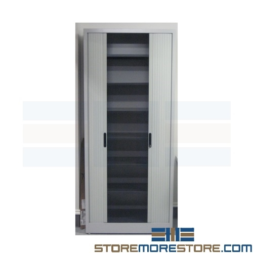 Tambour Door Storage Cabinet With Adjule Shelves 47 1 4 W X 17 3 D 61 2 H Sms 37 6248a3