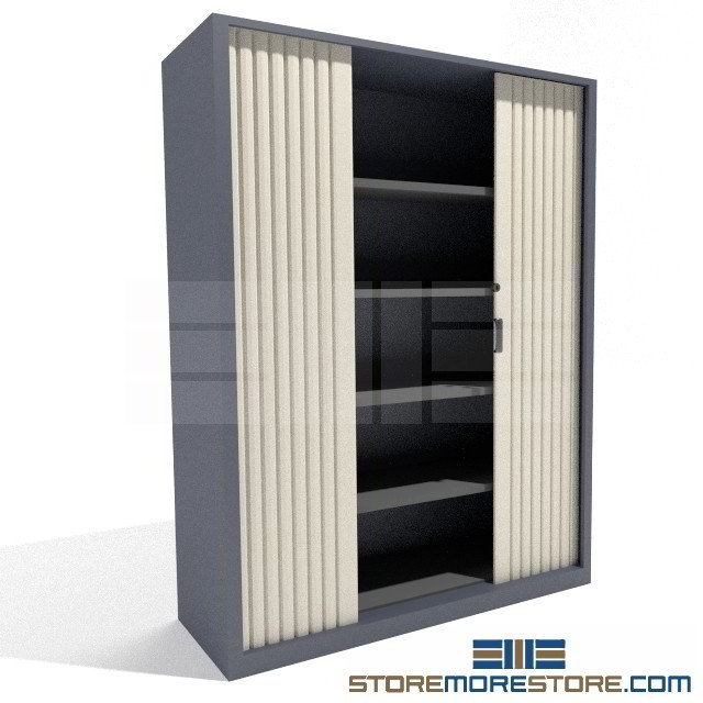 Locking Tambour Door Storage Cabinet with Adjustable Shelves SMS ...