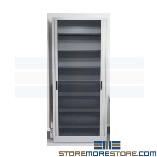 Free ...  sc 1 st  StoreMoreStore & Full Height Storage Cabinet with Tambour Doors Stores File Folders ...
