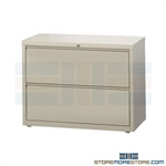 Heavy-duty 2 Drawer Lateral Filing Cabinet with anti-tipping feature to prevent more than one drawer to be opened at a time; shipped with a lock, supports Letter, Legal or A4 filing and comes in 5 standard colors.
