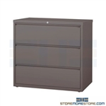 Heavy-duty three Drawer Lateral File Cabinet with anti-tipping feature to prevent more than one file drawer to be opened at a time; shipped with a lock, supports Letter, Legal or A4 filing and comes in 5 standard colors.