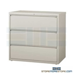 "Heavy-duty 3 Drawer Lateral File Cabinet 42"" wide with anti-tipping feature to prevent more than one drawer to be opened at a time; shipped with a key lock, supports Letter, Legal or A4 filing and comes in 5 standard colors."