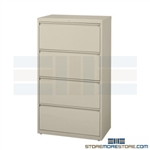 "Heavy-duty 36"" wide four Drawer Lateral Filing Cabinet with anti-tipping feature to prevent more than one drawer to be opened at a time; shipped with a key lock, supports Letter, Legal or A4 filing and comes in 5 standard colors."