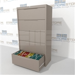 "Heavy-duty 36"" wide 5 Drawer Lateral Filing Cabinet with anti-tipping safety feature to prevent more than one drawer to be opened at a time; shipped with a key lock, supports Letter, Legal or A4 filing and comes in 5 standard colors."