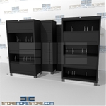 High Density 5 level flipper door side tab cabinet with Free Shipping, Stores end tab letter and legal files behind locked doors