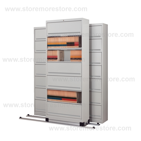 Alternative Views  sc 1 st  StoreMoreStore & Rolling 7 Tier Flipper Door Cabinets on Tracks | Moving Filing ...