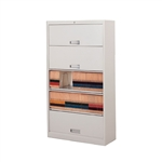 Five Tier Flipper door file shelf cabinet with Free Shipping, Stores end tab letter and legal files behind locked doors