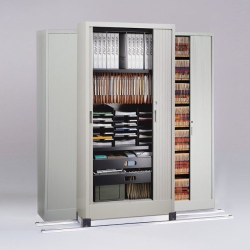 Office Storage and Filing Cabinet with Sliding Locking Doors on ...