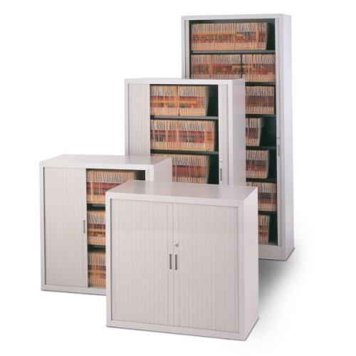 Office Storage And Filing Cabinet With Sliding Locking Doors On