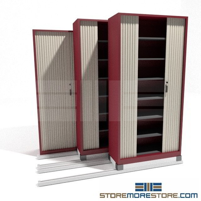 Sliding shelf storage cabinets on rails for file boxes