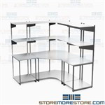 Corner Computer Workstation Server Bench Overhead Storage Shelf Network Mayline