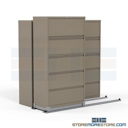Sliding 2 1 Track System With 36 Wide Lateral File Cabinets 78 X 40 Deep 70 4 High Sms 37 Lat36521