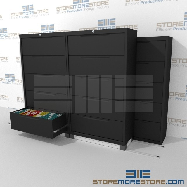 This Lateral File Cabinet storage system condenses and compacts files to  save your filing storage floor