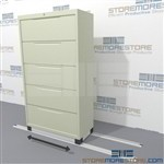 Sliding Lateral File Cabinets on tracks, How to save space with existing Lateral File cabinet? HD Lateral Cabinets, High density Lateral filing cabinet Slide back and forth on tracks allowing easy access to your existing filing cabinets