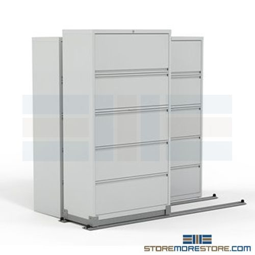2 1 Sliding Rail System With 42 Wide Lateral Filing Cabinets 90 X 40 Deep 70 4 High Sms 37 Lat42521