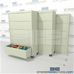 This Lateral File Cabinet storage system condenses and compacts filing cabinets together to save filing storage floor space and provide more space for more files or desks and other equipment to generate revenue.