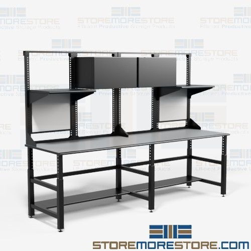 Superbe Industrial Work Tables Workbench Overhead Storage Cabinets Bench Mayline  TW12