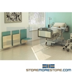 healthcare foldaway wall chairs and wall mounted seats with anti-microbial, anti-bacterial fabric attach to walls in your hospital corridors, medical exam room, patient rooms, or waiting areas and take up less room than traditional seating