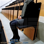 Flex spring seating and folding chairs provide temporary seats for police intake areas, boardrooms, conference rooms, waiting areas, reception areas, university hallways, and anywhere space is an issue