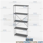 Open Shelving Beaded Post 36x12x87 | 5 Shelves Medium-Duty Steel Hallowell