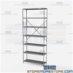 Open Shelving Beaded Post 36x12x87 | 7 Shelves Medium-Duty Steel Hallowell
