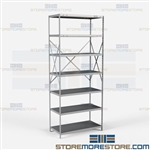 Open Shelving Beaded Post 36x18x87 | 7 Shelves Medium-Duty Steel Hallowell