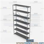 Open Shelving Beaded Post 48x12x87 | 7 Shelves Medium-Duty Steel Hallowell