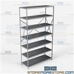 Open Shelving Beaded Post 48x18x87 | 7 Shelves Medium-Duty Steel Hallowell