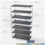 Open Shelving Beaded Post 48x24x87 | 7 Shelves Medium-Duty Steel Hallowell