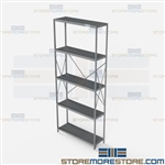Open Shelving Beaded Post 36x12x87 | 5 Shelves Heavy-Duty Steel Hallowell