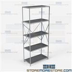 Open Shelving Beaded Post 36x18x87 | 5 Shelves Heavy-Duty Steel Hallowell