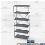 Open Shelving Beaded Post 36x18x87 | 6 Shelves Heavy-Duty Steel Hallowell