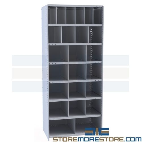 Small Parts Storage Bins Steel Shelving Compartments 36x18x87