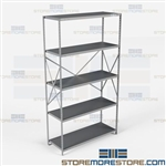 Open Shelving Beaded Post 48x18x87 | 5 Shelves Heavy-Duty Steel Hallowell