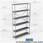 Open Shelving Beaded Post 48x12x87 | 6 Shelves Heavy-Duty Steel Hallowell
