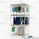 Two-Sided Costume Storage Racks Hanging Rod Shelves Three High Wardrobe Clothing