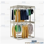 Double-Sided Hanging Costume Racks Storage Shelves Wardrobe Rod Hanger Garments