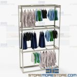 Commercial Hanging Garment Racks Storage Shelves Clothing Wardrobe 3 Levels High