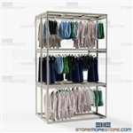 Warehouse Hanging Garment Racks Storing Wardrobe Three Shelves High Clothing