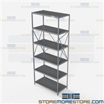 Open Shelving Beaded Post 36x18x87 | 6 Shelves Extra Heavy-Duty Steel Hallowell