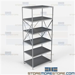 Open Shelving Beaded Post 36x24x87 | 6 Shelves Extra Heavy-Duty Steel Hallowell