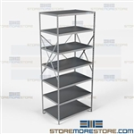 Open Shelving Beaded Post 36x24x87 | 7 Shelves Extra Heavy-Duty Steel Hallowell