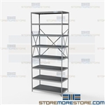 Open Shelving Beaded Post 36x18x87 | 8 Shelves Extra Heavy-Duty Steel Hallowell