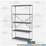 Open Shelving Beaded Post 48x18x87 | 5 Shelves Extra Heavy-Duty Steel Hallowell