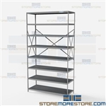 Open Shelving Beaded Post 48x18x87 | 8 Shelves Extra Heavy-Duty Steel Hallowell