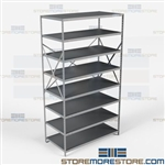 Open Shelving Beaded Post 48x24x87 | 8 Shelves Extra Heavy-Duty Steel Hallowell