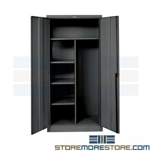 Hinged Door Combination Storage Cabinet Cleaning Supplies Brooms