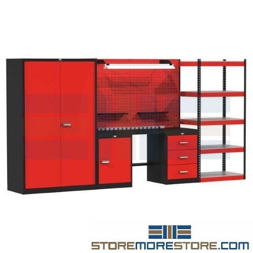 Work Bench With Storage Rack Cabinet Industrial Worktable Drawer