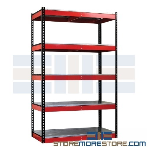 Alternative Views  sc 1 st  StoreMoreStore & Industrial Metal Storage Racks with Steel or Wood Decking with 5 Levels
