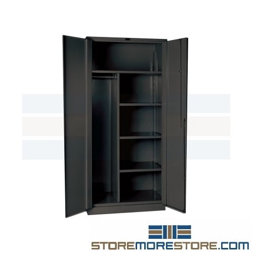 combination hanging cabinet with storage shelves locking doors with